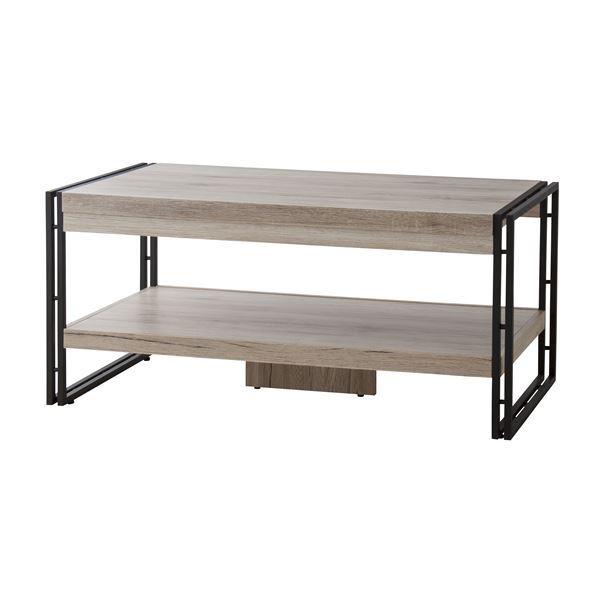 ウッドテイストコーヒーテーブル/ローテーブル 【幅100cm】 収納棚付き 木目調 『チェスター』 OL-570