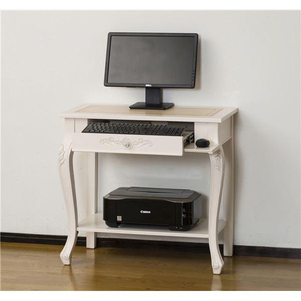 アンティーク調パソコンデスク/インテリアテーブル 【幅76cm ホワイト】 『コモ』 猫足 【組立】