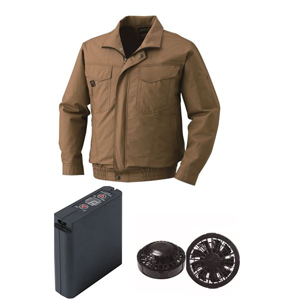空調服 綿薄手タチエリ空調服 大容量バッテリーセット ファンカラー:ブラック 1400B22C20S4 【カラー:キャメル サイズ:2L 】