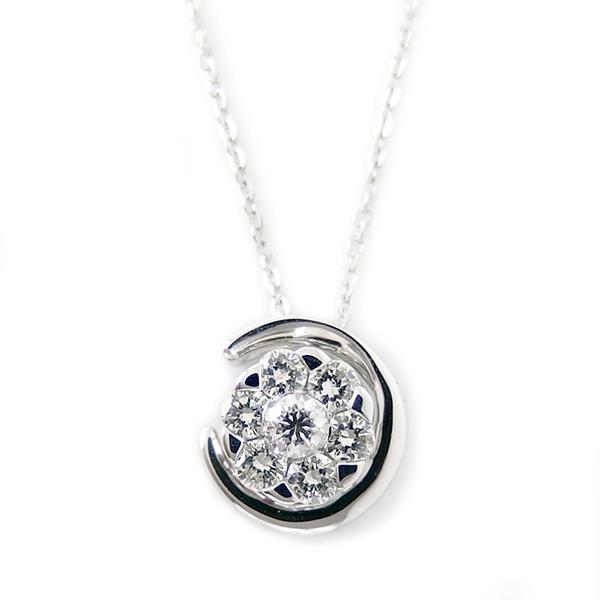 ダイヤモンド ネックレス K18 ホワイトゴールド 0.22ct 7ダイヤ コロネットセッティング Hカラー SIクラス 0.22カラット ペンダント