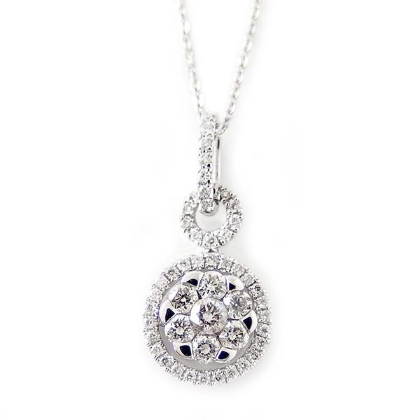 ダイヤモンド ネックレス K18 ホワイトゴールド 0.37ct 7ダイヤ コロネットセッティング Hカラー SIクラス 0.37カラット ペンダント 限定1点限り