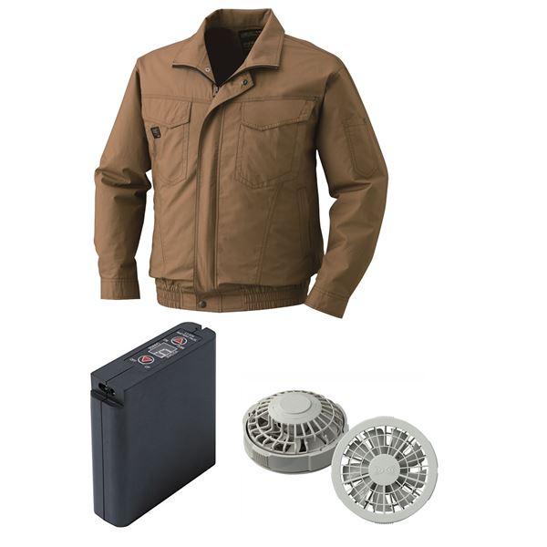 空調服 綿薄手タチエリ空調服 大容量バッテリーセット ファンカラー:グレー 1400G22C20S4 【カラー:キャメル サイズ:2L】