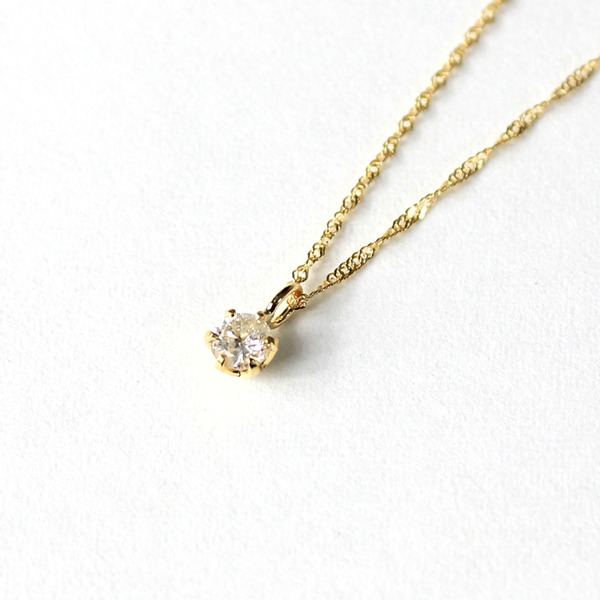 18金 イエローゴールド ダイヤモンド 0.1ct ペンダント ネックレス【代引不可】