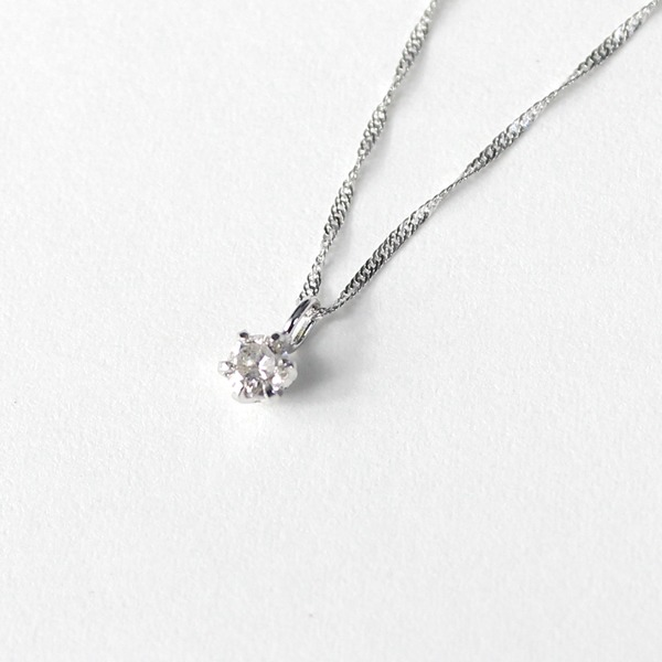 18金 ホワイトゴールド ダイヤモンド 0.1ct ペンダント ネックレス【代引不可】
