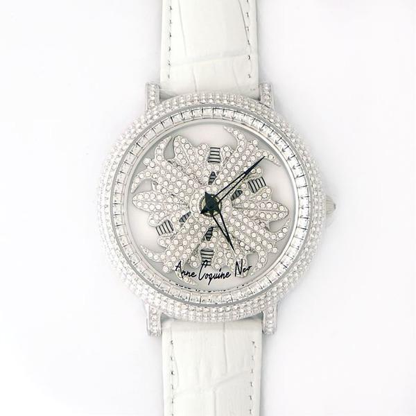 アンコキーヌ ネオ 45mm バイカラー ミニクロス シルバーベゼル インナーベゼルクリアー ホワイトベルト アルバ 正規品(腕時計・グルグル時計)