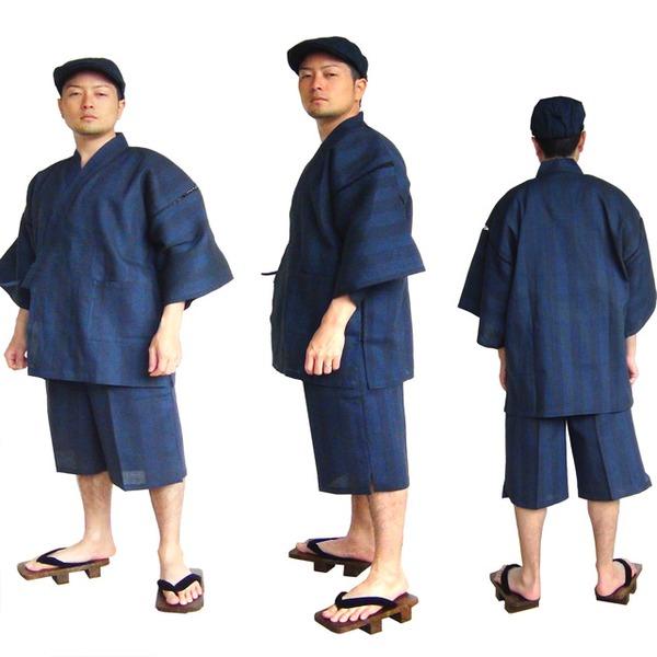 纏(まとい)織甚平 キングサイズ 紺 4L