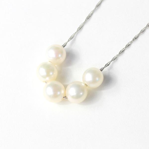 プラチナ アコヤ真珠 5ストーン ネックレス ペンダント【代引不可】