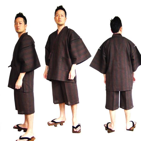 纏(まとい)織甚平 キングサイズ 濃茶 3L