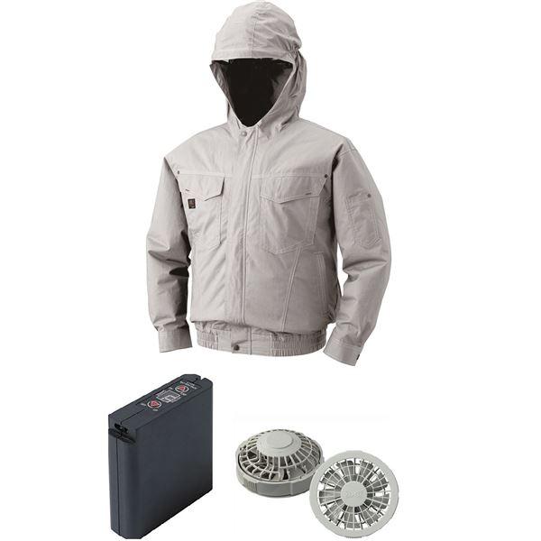 空調服 フード付綿薄手空調服 大容量バッテリーセット ファンカラー:グレー 1410G22C06S4 【カラー:シルバー サイズ:2L】