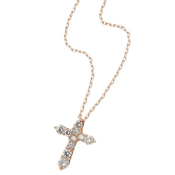 ダイヤモンドペンダント/ネックレス 10粒 0.2ct K18 ピンクゴールド 十字架 クロスモチーフ 人気のクロスダイヤ