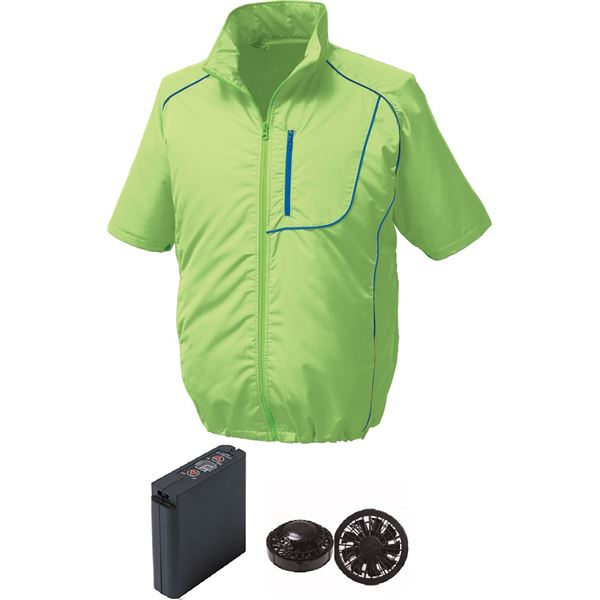 ポリエステル製半袖空調服 大容量バッテリーセット ファンカラー:ブラック 1720B22C17S2 【ウエアカラー:ライムグリーン×ネイビー M】