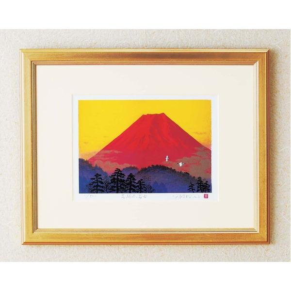 シルク版画/額付き 【大衣サイズ】 吉岡浩太郎 吉祥 「飛鶴赤富士」 壁掛け紐付き 箱入り 日本製
