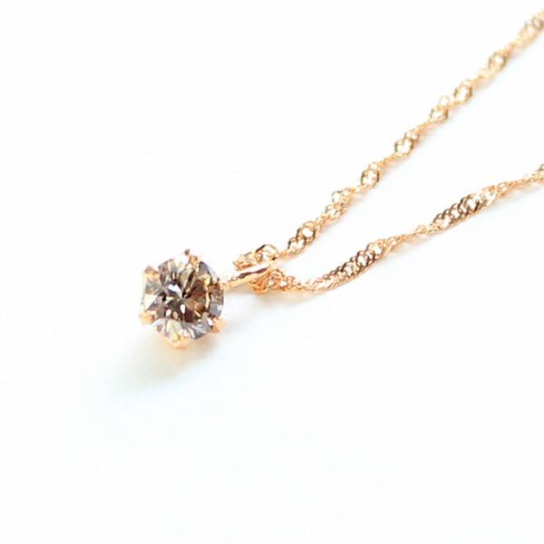 18金ピンクゴールド ブラウンダイヤモンド 0.1ct ペンダント ネックレス【代引不可】
