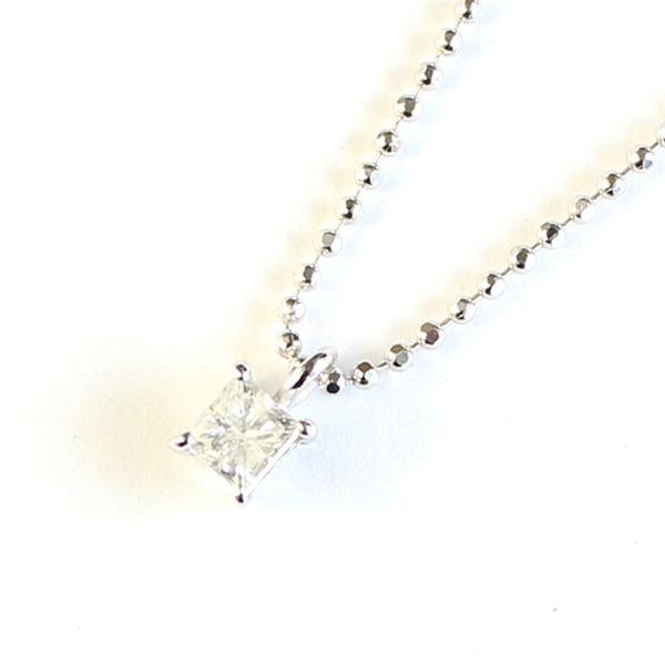 プリンセスカット ダイヤモンド ネックレス 0.15ct ペンダント カットボールチェーン【代引不可】