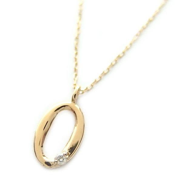 ナンバー ネックレス ダイヤモンド ネックレス 一粒 0.01ct K18 ゴールド 数字 0 ダイヤネックレス ペンダント