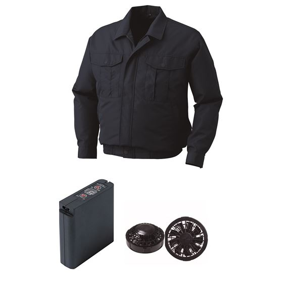 空調服 ポリエステル製ワーク空調服 大容量バッテリーセット ファンカラー:ブラック 0540B22C03S4 【カラー:ネイビー サイズ:2L 】
