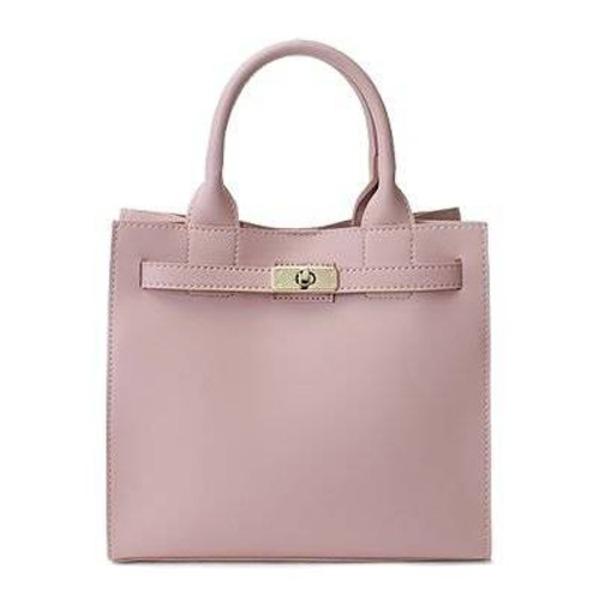 カラフルだけどシンプルなベルト付ハンドバッグ/ピンク