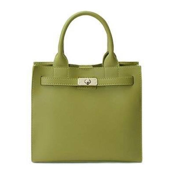 カラフルだけどシンプルなベルト付ハンドバッグ/グリーン