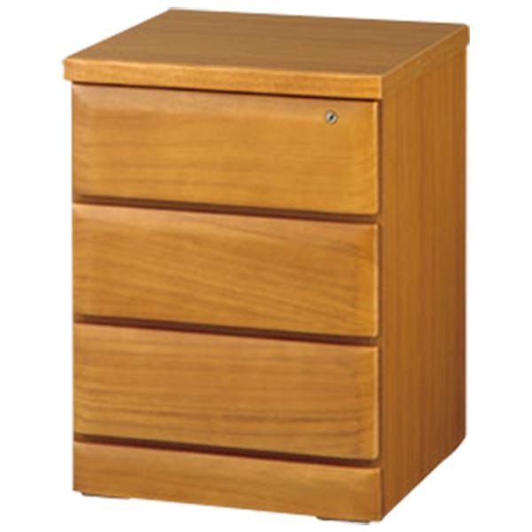 天然木多サイズチェスト/収納棚 【3段/幅45cm】 ライトブラウン 木製 鍵付き