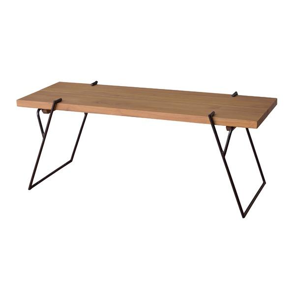 天然木コーヒーテーブル/ローテーブル 【Lサイズ 幅120cm×奥行43cm】 木製×アイアンフレーム スリム