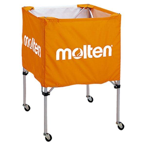 【モルテン Molten】 折りたたみ式 ボールカゴ 【中・背低 オレンジ】 幅63×奥行63cm キャスター ケース付き