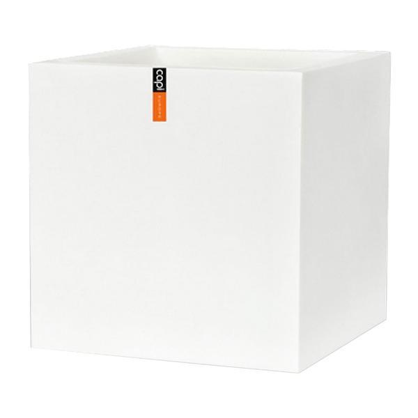 樹脂製軽量ポット (植木鉢/プランター) 【キューブ型 ホワイト】 幅60cm 防水 UV加工 耐寒 『CAPI』 〔ガーデニング用品〕