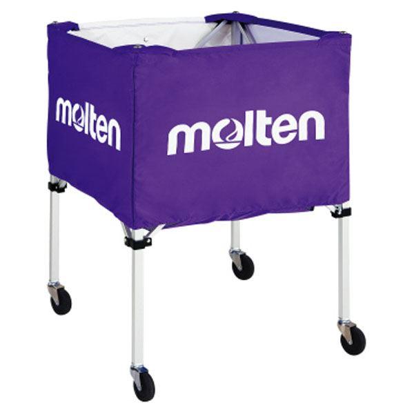 【モルテン Molten】 折りたたみ式 ボールカゴ 【屋外用 パープル】 幅63×奥行63cm キャスター ケース付き