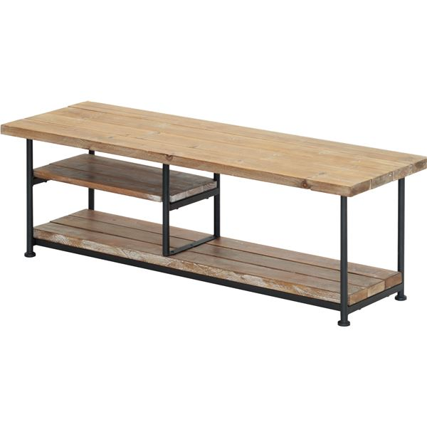 テレビ台/テレビボード 【幅120cm】 木製/杉古材 スチール 木目調 収納棚付き