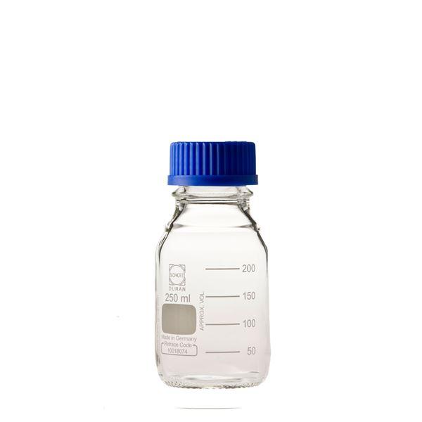 【柴田科学】ねじ口びん(メジュームびん) 青キャップ付 250mL【10個】 017200-250A