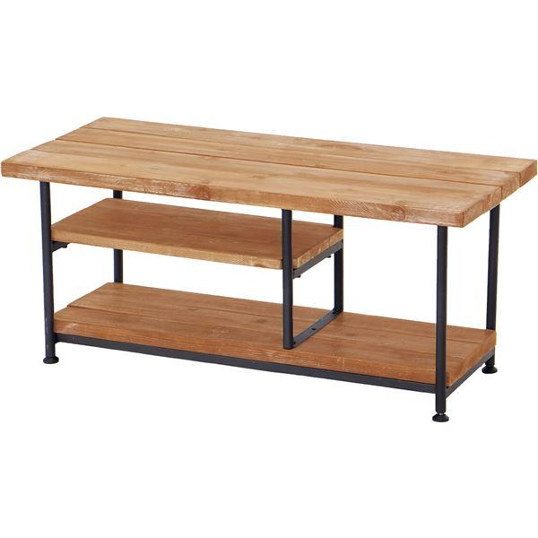 テレビ台/テレビボード 【幅90cm】 木製/杉古材 スチール 『JOKER』 木目調 収納棚付き