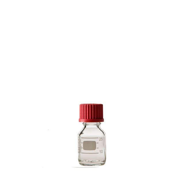 【柴田科学】ねじ口びん(メジュームびん) 赤キャップ付 25mL【10個】 017200-2511A