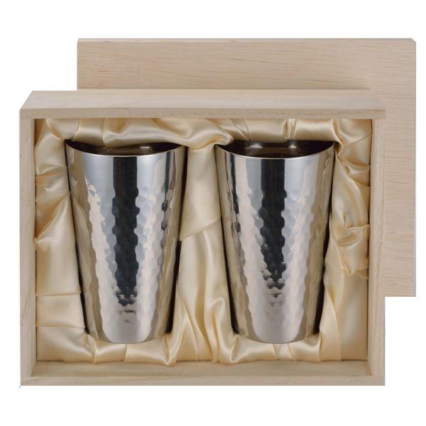 チタン製 タンブラー/ビアカップ 【2PCセット】 日本製 ミラー仕上げ 2重カップ 『アサヒ』 〔カフェ バー〕