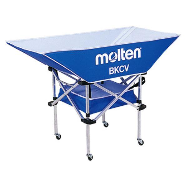 【モルテン Molten】 折りたたみ式 平型軽量 ボールカゴ 【背低 ブルー】 幅128×奥行63cm キャスター ケース付き