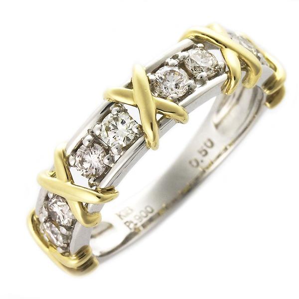 ダイヤモンド リング 0.5ct ハーフエタニティ プラチナPt900 K18イエローゴールド コンビ ダイヤ合計8石 指輪 UGL鑑別カード付き サイズ#8 8号