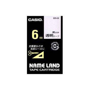 (業務用50セット) カシオ CASIO 透明テープ XR-6X 透明に黒文字 6mm