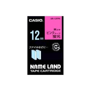 (業務用50セット) カシオ CASIO 蛍光テープ XR-12FPK 桃に黒文字 12mm