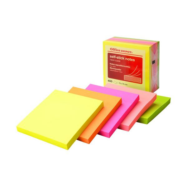 (まとめ) オフィスデポ 粘着メモ キューブ7.6×7.6cm ネオン5色 133333 1冊 【×30セット】