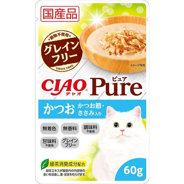 (まとめ)CIAO Pureパウチ かつお かつお節・ささみ入り 60g (ペット用品・猫フード)【×96セット】