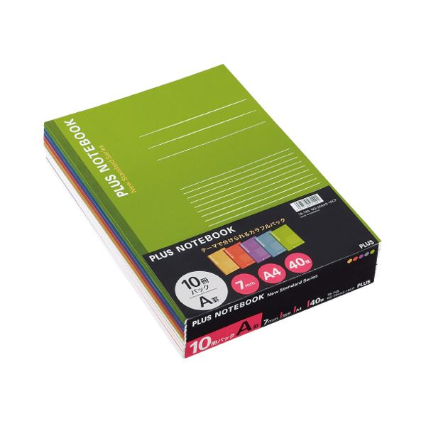 (まとめ) プラス ノートブック A4 A罫7mm40枚 イエロー・オレンジ・パープル・ブルー・グリーン NO-204AS-10CP1パック(10冊:各色2冊) 【×5セット】
