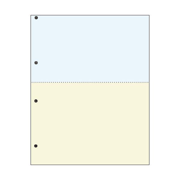 TANOSEE汎用マルチタイププリンタ帳票 カラー用紙 A4 2分割 4穴 1箱(2500枚:500枚×5冊)