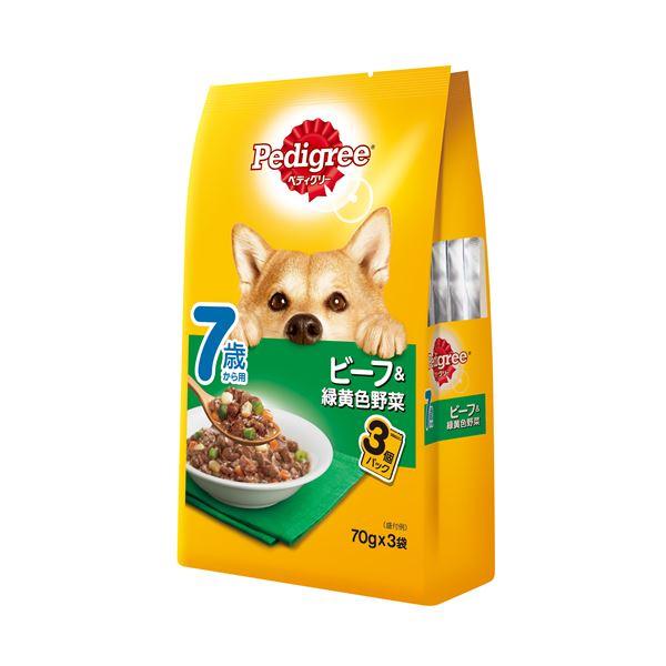 (まとめ)ペディグリー 7歳から用 ビーフ&緑黄色野菜 70g×3袋 (ペット用品・犬フード)【×48セット】