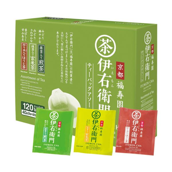 (まとめ)宇治の露製茶 伊右衛門3種アソートティーバッグ 2g 1箱(120バッグ)【×5セット】