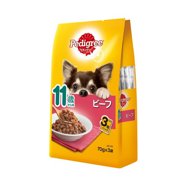 (まとめ)ペディグリー 11歳から用 ビーフ 70g×3袋 (ペット用品・犬フード)【×48セット】