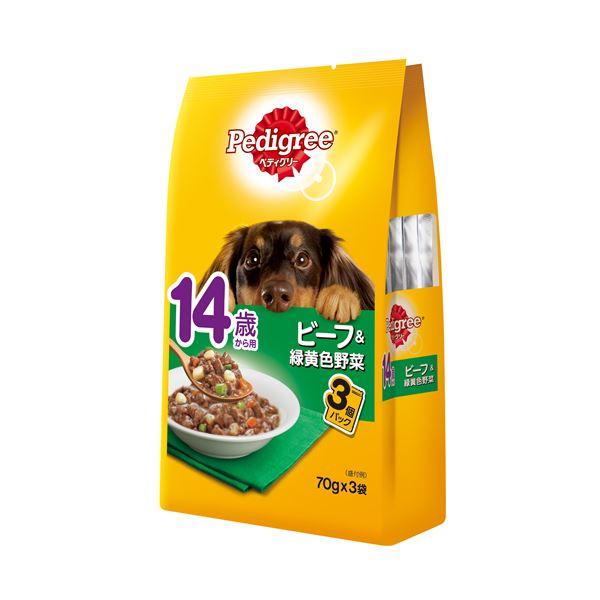 (まとめ)ペディグリー 14歳から用 ビーフ&緑黄色野菜 70g×3袋 (ペット用品・犬フード)【×48セット】