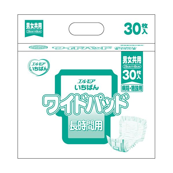 (まとめ)カミ商事 エルモア いちばんワイドパッド 長時間用 1パック(30枚)【×10セット】
