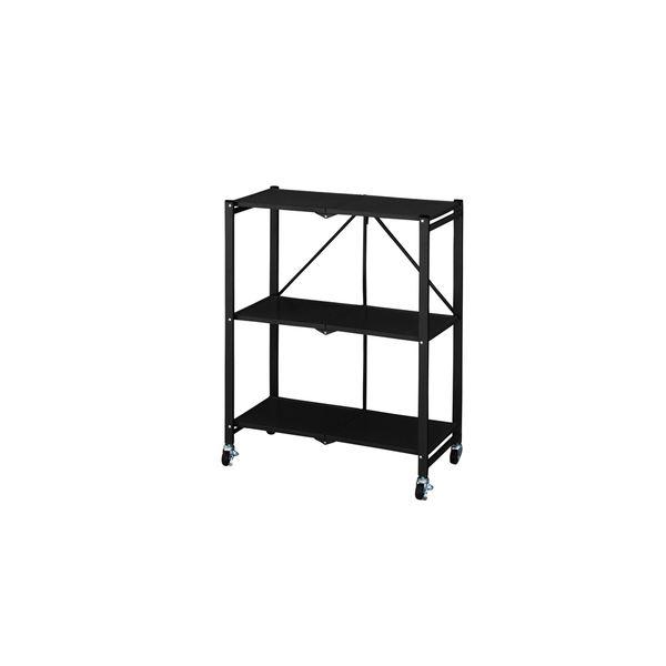 フォールディングシェルフ/収納棚 【2段 ブラック】 幅71.5cm スチール 天板 キャスター付き 〔リビング ダイニング〕