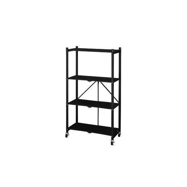 フォールディングシェルフ/収納棚 【3段 ブラック】 幅73cm スチール 天板 キャスター付き 〔リビング ダイニング〕