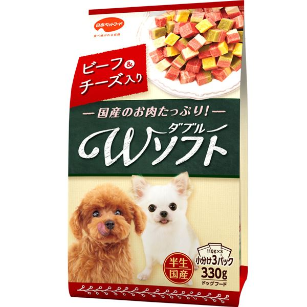 (まとめ)ビタワン君のWソフト ビーフ・チーズ入り 330g (ペット用品・犬フード)【×18セット】