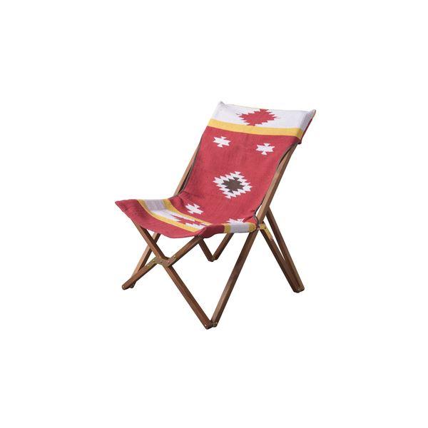 フォールディングチェア/折りたたみ椅子 【TTF-925C】 幅58cm 木製 コットン 本革 〔アウトドア イベント 行楽 レジャー〕