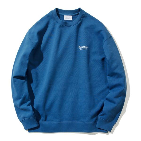 ヴィンテージをベースにした韓国発のベーシックウェアブランド カバーナット COVERNAT 百貨店 CO2000CR04 ブルー WEB限定 M レイアウトロゴクルーネックトレーナー